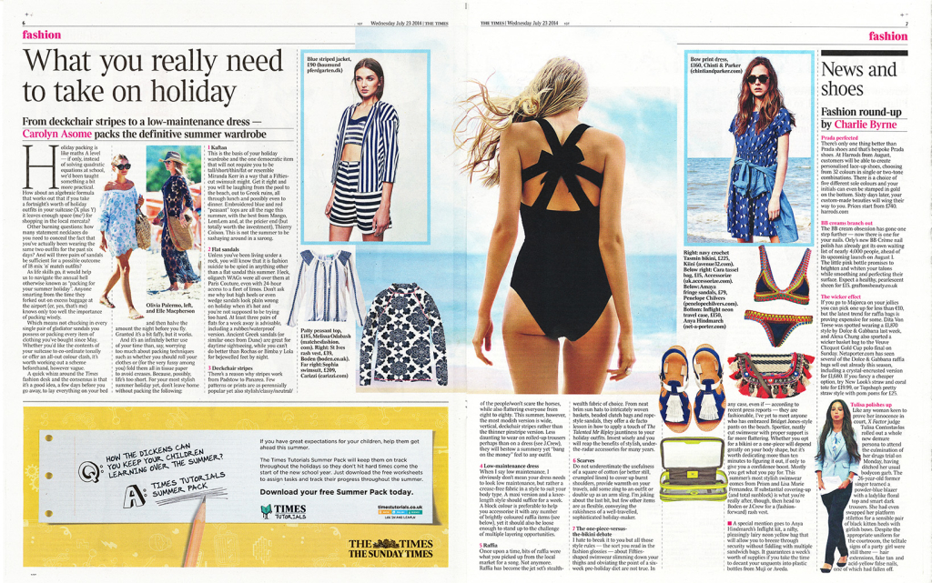 Holiday packing... The London Times, don