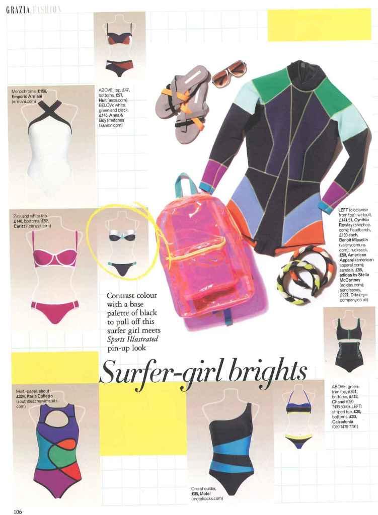 Carizzi sport chic bikini in Grazia Surfer-girl Brights